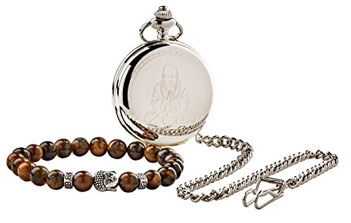 Silberne Taschenuhr mit Buddhafigur und Achatbraunen Perlen-Armband, Geschenkset, Klappdeckel mit Kette in Holz-Geschenkbox für Mediation, Heilung und Namaste-Yoga