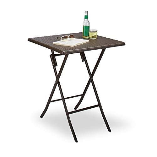 Relaxdays Gartentisch klappbar BASTIAN, quadratisch H x B x T: 74 x 61,5 x 61,5 cm, Metall, Kunststoff, Rattan-Optik, braun