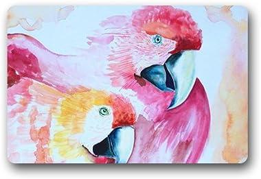 Watercolor Pink Bird Painting Abstract Customized Doormat Entrance Mat Floor Mat Rug Indoor/Front Door/Bathroom/Kitchen and L