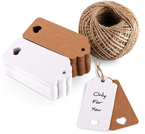 ilauke 200pcs Kraft Paper Gift Tags 9X4cm with 65 Yards Natural Jute Twine Hang Tags for Arts and Crafts Party Wedding Christmas Thanksgiving