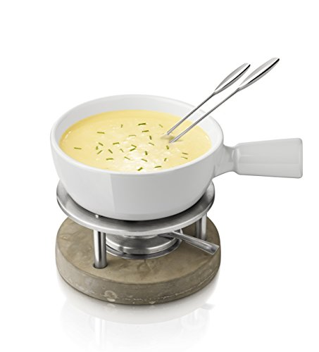 BOSKA Käse Fondue-Set Life, Keramik, Silber/weiß/grau, 30 x 22 x 19 cm