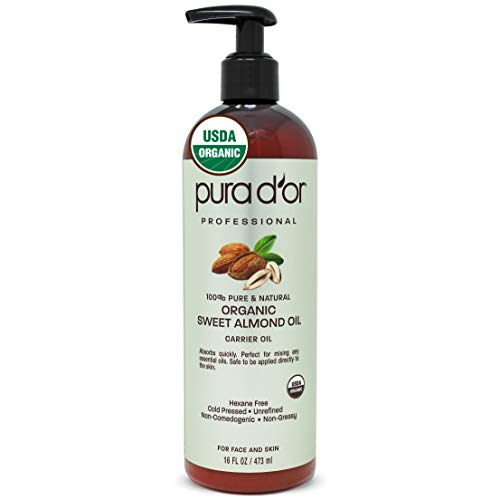 PURA D#039OR Organic Sweet Almond Oil 16oz Certified Organic 100% Pure amp Natural Hexane Free Soothing Vitamin E Oil for Skin amp Face Facial Polish Full Body Massages DIY Base Packaging may vary