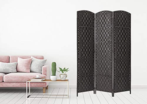 Legacy Decor Room Divider 3 Panels Diamond Weave Bamboo Fiber Privacy Partition Screen, Black Color 5.9 ft high X 4.33 ft Wide