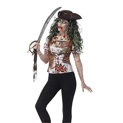 SMIFFYS T-Shirt Donzella Pirata zombie, Verde, con stampa a sublimazione