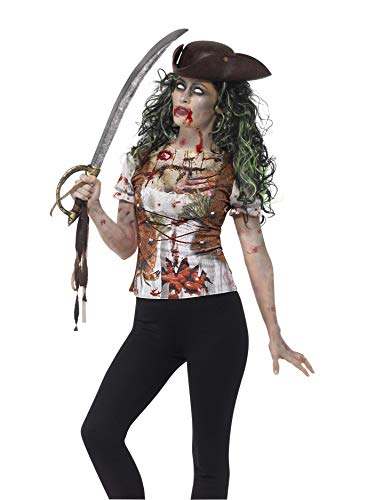 Smiffys Camiseta de moza Pirata Zombi, Verde, con impresión en sublimación