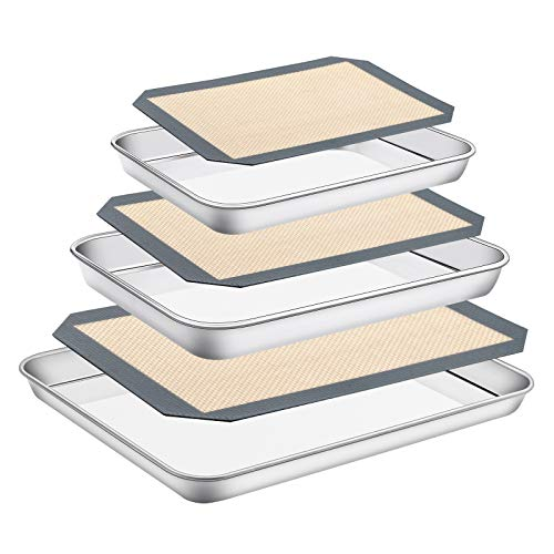 Stainless Steel Baking Sheet with Silicone Mat Set, Set of 6 (3 Sheets + 3 Mats),Size 16,12,9 inch, Estmoon Nonstick Cookie Sheet Baking Pan Non Toxic & Heavy Duty & Easy Clean , Dishwasher Safe