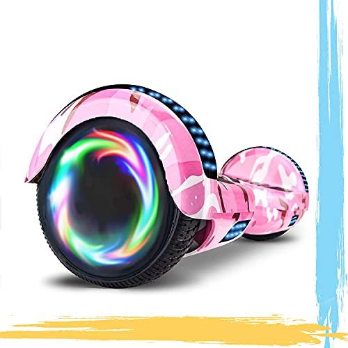"""MJK Hoverboard - 6,5"""" - Bluetooth - LED - Self Balancing Board Adulte - 700W - Smart Scooter Deux Roues - Skate Électrique Cadeaux Pas Cher-Adulte et Enfant-Rose Camouflage"""