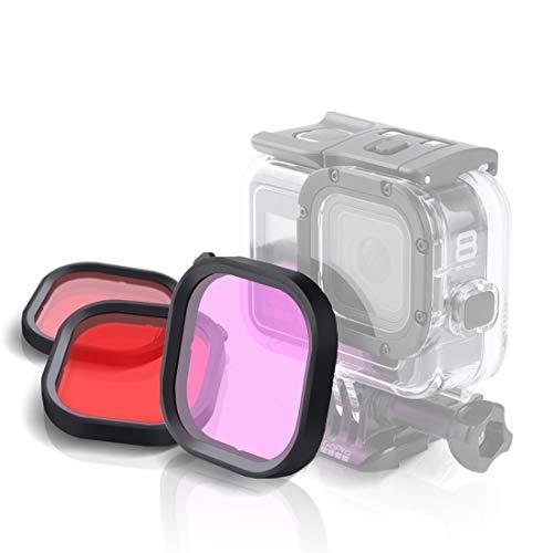 Nkesish HH-púrpura rojo 3 color cuadrado vivienda buceo lente kits de filtro para GoPro HERO8 negro impermeable vivienda