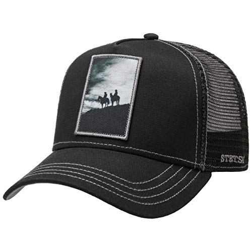 Stetson Gorra Trucker Silhouette Horses Hombre - de Baseball Malla Beisbol Snapback, con Visera Primavera/Verano - Talla única Negro