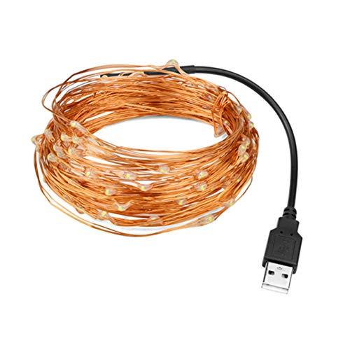 QPOWY 5V USB LED Cadena de luz 10M 5M Alambre de Cobre Impermeable Hada LED Luces de Navidad para el Banquete de Boda Decoración navideña