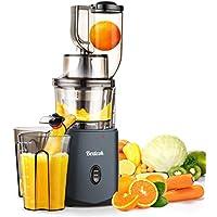 Licuadora Prensado en Frio, Bextcok Licuadoras para Verduras y Frutas Slow Juicer con Boca Ancha de 83MM, Exprimidor Automatico Extractor de Zumos Jugos con Función inversa, Libre de BPA