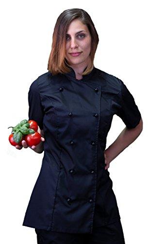 tessile astorino Ricamo Gratuito - Giacca Cuoco da Cucina - Casacca Chef Donna Manica Corta - Nera - Made in Italy (M)