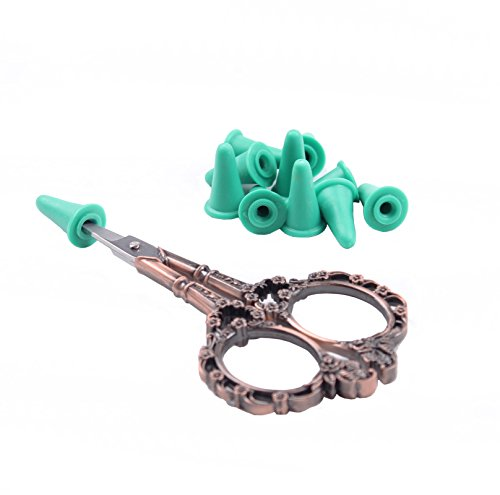 BIHRTC Vintage European Style Plum Blossom Scissors for Embroidery, Sewing, Craft, Art Work & Everyday Use with 10 Pcs Safety Cover