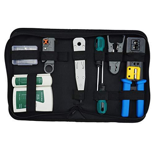 Cobeky Juego de herramientas de red, herramienta de crimpado Rj45, Cat5 Cat6 Cable Tester Reparación Cortador de Pelo, Rj45 Coax Plug Crimping, Rj11 Detector de Datos de Alambre Stripper