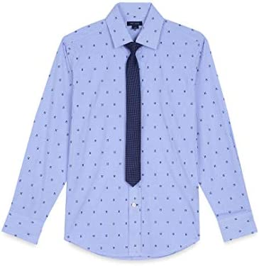 Tommy Hilfiger Big Boys Stretch Plaid Shirt with Straight Tie Blue 14 product image