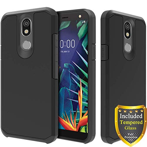 ATUS LG K40 Case, LG Xpression Plus 2, LG Harmony 3, LG Solo LTE, LG K12 Plus, LG X4 2019, with Full Cover Tempered Glass Screen Protector - Hybrid Dual Layer Protective TPU Case (Black/Black)