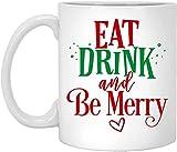 BeeTheOnly Tazze di Natale Divertenti Mangia, Bevi e Sii Felice, i Migliori Regali di Natale per Gli Amici, la Famiglia, i colleghi, Tazza da caffè Bianca, 11 Once