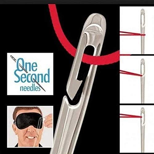 Find Discount Self-Threading Needles, Sewing Self Threading Hand Needles Stitching Pins, Embroidery Hand Sewing Tools, Loop Thread Around The Needle, Pull Into Groove, You're Done With Threading! (2 set, silver)