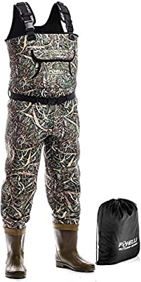 Foxelli Neoprene Chest Waders - Camo Fishing Waders for Men with Boots - Use for Duck Hunting, Fly Fishing, Emergency Flooding - 100% Waterproof, Carrying Bag Included