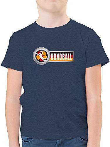 Handball WM 2021 Kinder - Handball Deutschland 2-164 (14/15 Jahre) - Dunkelblau Meliert - Geschenk - F130K - Kinder Tshirts und T-Shirt für Jungen