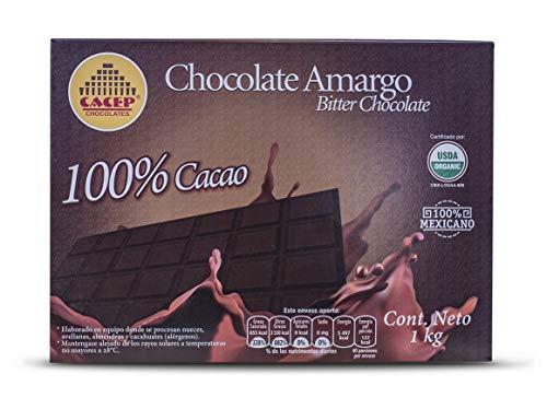 CACEP  Barra 1kg Chocolate Orgánico amargo 100% cacao Mexicano  Sin lácteos   Ideal para repostería KETO  Sin azúcar  Puedes comer a mordidas también
