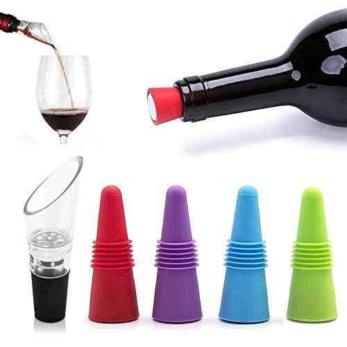 MEIJUBOL Weinverschluss mit Dekanter 5er-Set wiederverwendbar Silikon Getränkeflaschenversiegelung Ersatzverwendung Damit der Wein frisch und nüchtern bleibt
