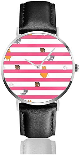 Azumanga Daioh CatsLeather Strap Wrist Watches Casual Classic Stainless Steel Quartz Business...