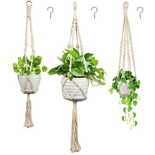 Eclawen 3 Pack Macrame Plant Hangers with 3 Hooks, Indoor Handmade Cotton Rope Hanging Planter...