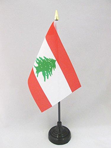 AZ FLAG Bandera de Mesa de LÍBANO 15x10cm - BANDERINA de DESPACHO LIBANESA 10 x 15 cm Punta Dorada