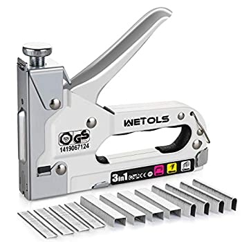 WETOLS Staple Gun Heavy Duty Staple Gun 3 in 1 Manual Nail Gun with 2400 Staples D U and T-Type  for Upholstery Material Repair Carpentry Decoration Furniture DIY - DY808