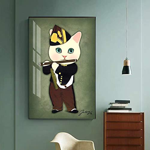 Abstract mischievous painting flute boy canvas art for living room pearl earring girl poster print 50x75cm frameless