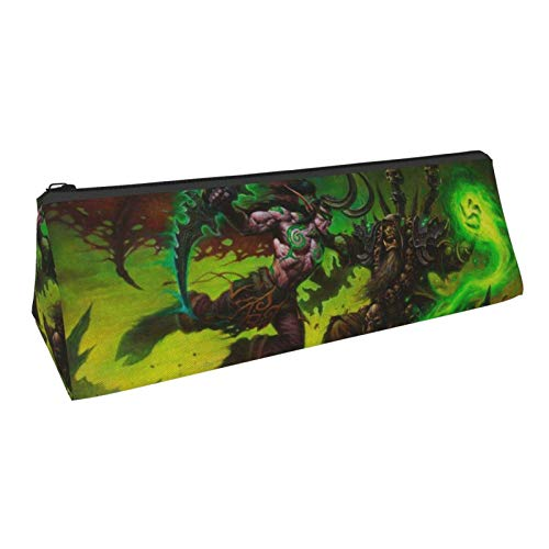 World Warcraft Guldan Pencil Case Triangle Pencil Pouch Big Capacity Pencil Bag with Zipper Makeup Bag Multi-Functional Stationery Organizer School Home Office Pen Pouch