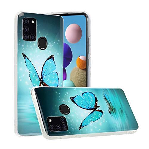 Nadoli Leuchtend Hülle für Samsung Galaxy A21S,Fluoreszierend Licht im Dunkeln Weich Dünn Gummi Rückseite Handytasche Stoßfest Flexibel Schutzhülle Case,Blau Schmetterling