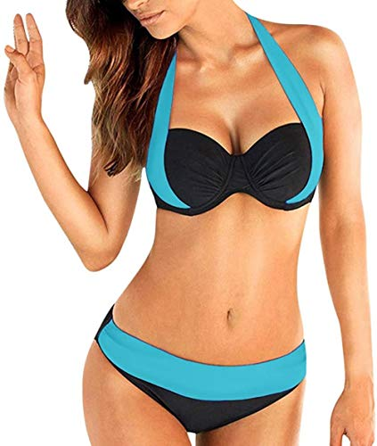 DALUXE Triángulo septiembre Mujeres en Bikini, Halter Push-up Traje Sido de Dos Piezas Traje de Toallas de baño Acolchada Dimensiones más pequeñas de tamaño Trajes,Azul Claro,S