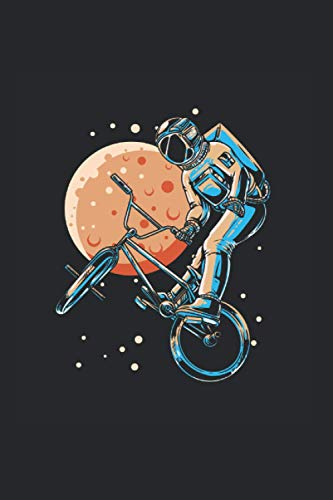 Notebook: Astronaut BMX Moon Space Biker Notebook 6x9 Inches 120 dotted pages for notes, drawings, formulas | Organizer writing book planner diary