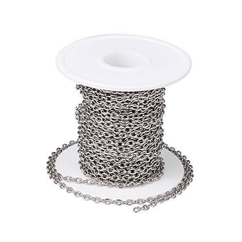 PandaHall 32.8 Feet Stainless Steel Cable Cross Chains with Spool 4x3x0.8mm Unwelded Oval Link Necklace Bracelet Pendant Jewelry Making Chains