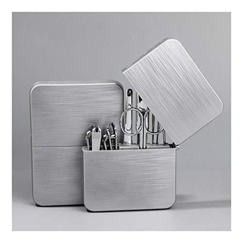 Kit de cortaúñas para manicura y pedicura profesional para hombres y aseos con kit portátil de acero inoxidable de viaje con carcasa de plástico Pinzas de uñas (color plateado C)