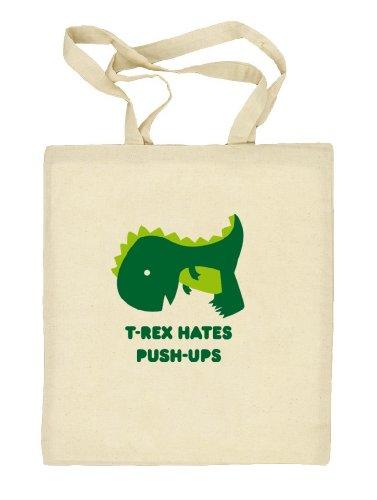 Shirtstreet24, T-Rex Hates Push-Ups,Dino Natur Stoffbeutel Jute Tasche (ONE SIZE), Größe: onesize,natur