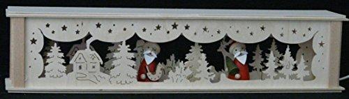 Schwibbogenerhoogtes verlicht met kerstmannen (bont) B x H = 52x10cm NIEUW lichtboog vensterbank Ertsgebergte hout