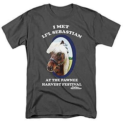 Popfunk Parks & Rec Pawnee's Horse Li'l Sebastian Charcoal Gray T Shirt & Stickers (Large)
