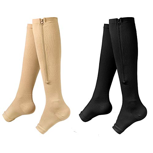 Zipper Compression Socks - 2Pairs Calf Knee High Stocking - Open Toe Compression Socks for Walking,Runnng,Hiking and Sports Use (C- BLACK/NUDE, l)