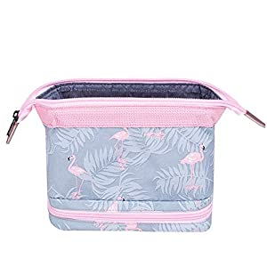 Travel Makeup Bags, 2-layer Cosmetic Pouch Portable Water Resistant Travel Toiletry Wash Bag