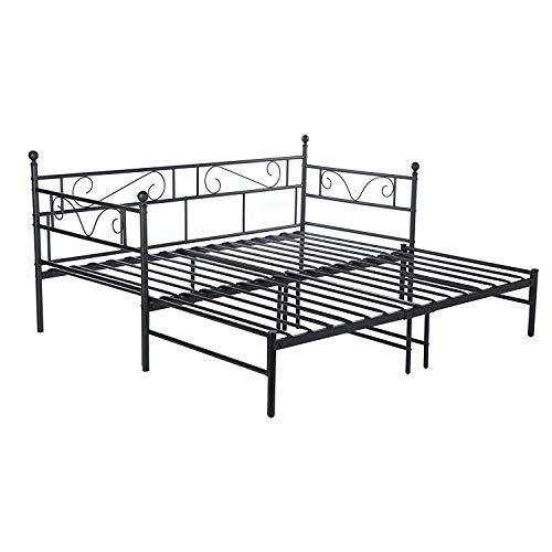 ZXL Bed Frame,Daybed Twin Bed Frame Guest Bed Frame Sofa Bed with Pull Out Trundle for Living Room Guest Room(Black)