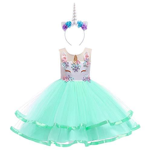 OwlFay Bebe Niña Tutu Princesa Vestido de Unicornio Cumpleaños Disfraz de Fiesta Halloween Carnaval Navidad Ceremonia Bautizo Comunión Boda Cosplay Flor Partido Ropa Verde 11-12 años