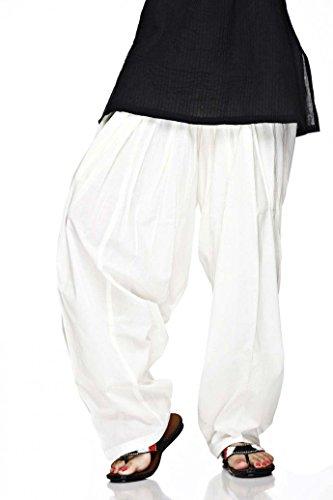 PlainPatialaSalwar Pants-100% Cotton-in Many Colours- Kameez Kurti Tunic Yoga White