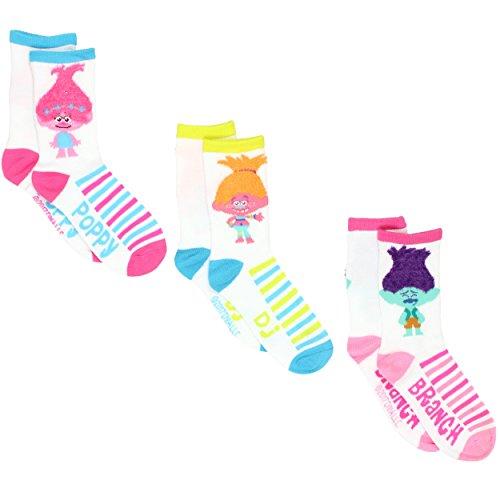 Trolls Mädchen Damen Socken 3er-Pack (Kleinkinder/große Kinder/Jugendliche/Erwachsene) - Weiß - 22-25 Mädchen (Schuh: 27-36 EU)