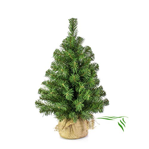 artplants.de Mini Weihnachtsbaum WARSCHAU, gün, Jutesack, 60cm, Ø 40cm - Künstlicher Christbaum