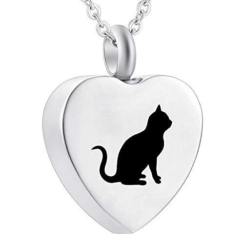DRGRG Asche Einäscherung Halskette Urne Haustier Edelstahl Anhänger Halskette Urne für Asche Schwarze Katze auf Herz Andenken Anhänger 3