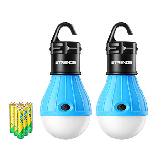 E-TRENDS 2 Pack Portable LED Lantern Tent Camp Light Bulb for Camping Hiking Fishing Emergency Lights, Battery Powered Lamp with 6 AAA Batteries, Blue
