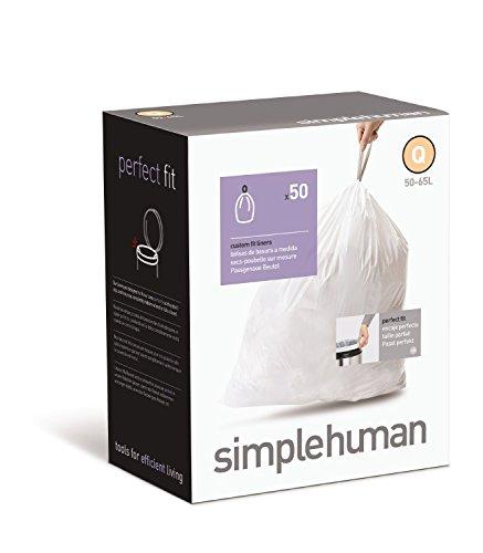simplehuman - Code V, Custom Fit Recycling Bin Liners, 50 Pack - 16-18 Litre